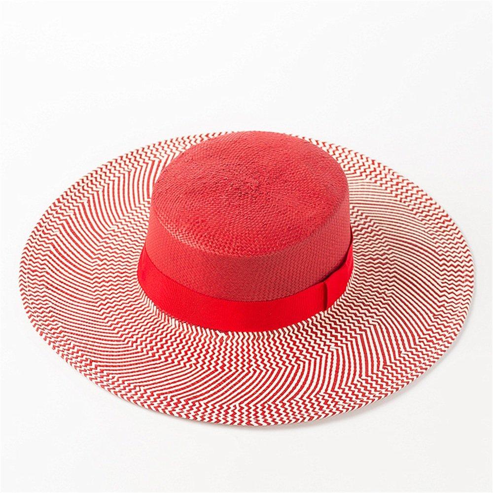 Shuo lan hu wai Hut der Frauen gestreifter Bowknot-Papierstroh-Spitzenhut-Sommersonnenschutz-Strand groß entlang dem Spitzenstrohhut