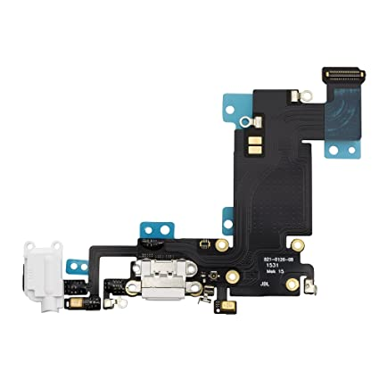 promo code 5c95b 76c7a COHK USB Charging Dock Port Flex Cable with Microphone and Headphone Audio  Jack Replacement for iPhone 6s Plus 5.5'' White