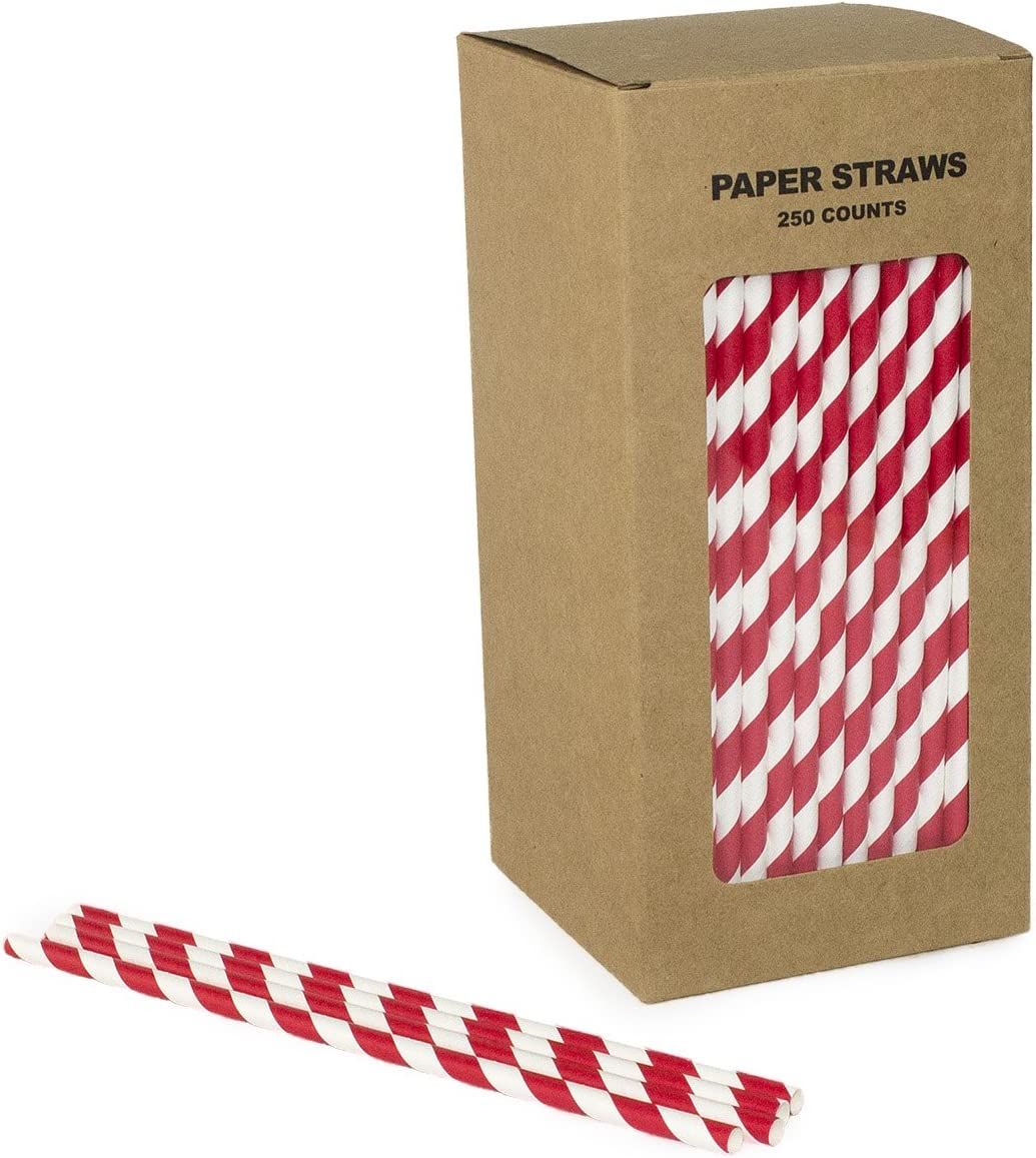 white 250pack Birthday Party or any Themed Party Biodegradable Paper Straws Paper Suction Pipe Bulk Ordinary Solid Disposable Pipette, Eco-Friendly Straw Perfect for Wedding