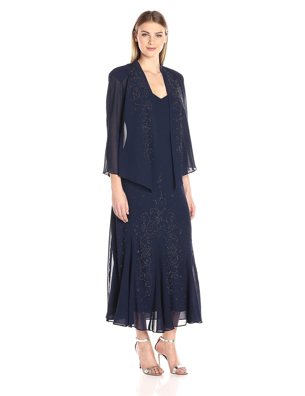 R&M Richards Women's Beaded Chiffon Jacket Dress R&M Richards Dresses 058260