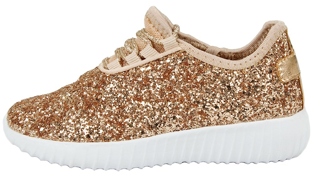 Women Fashion Metallic Sequins Glitter Lace up Light Weight Stylish Sneaker Shoes B076DNJ1C3 7 B(M) US|Rosegold