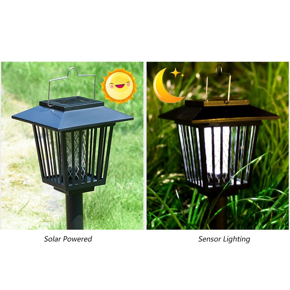 Meckily Solar Bug Zapper Light Pest Trap Mosquito Killerelectric Killerinsect Killermosquito Killer Insect Outdoor Lamp Hang Stake In The Ground Portable Garden Lawn
