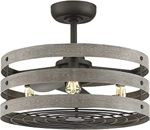 """Progress Lighting P250012-143-22 Gulliver 3-Blade Fan Enclosed in a Three Band cage with The LED Bulbs Included, 18-1/8"""" x 23-1/2"""", Graphite"""
