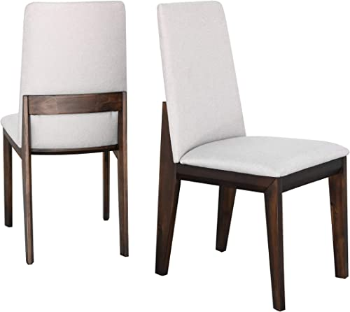 Abbyson Living Mid-Century Modern Set of 2 Upholstered Wood Dining Side Chair