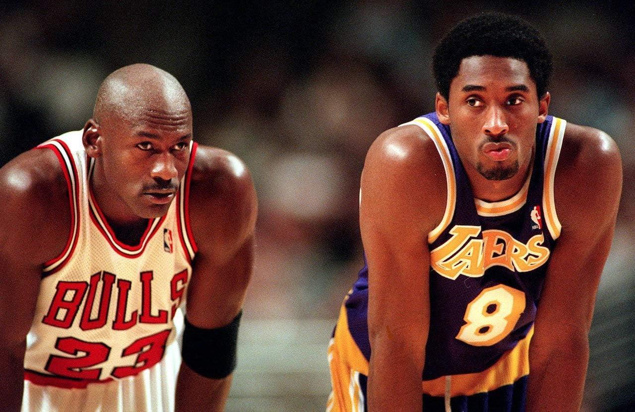 Michael Jordan vs Kobe Bryant Classic Basketball Pose Poster