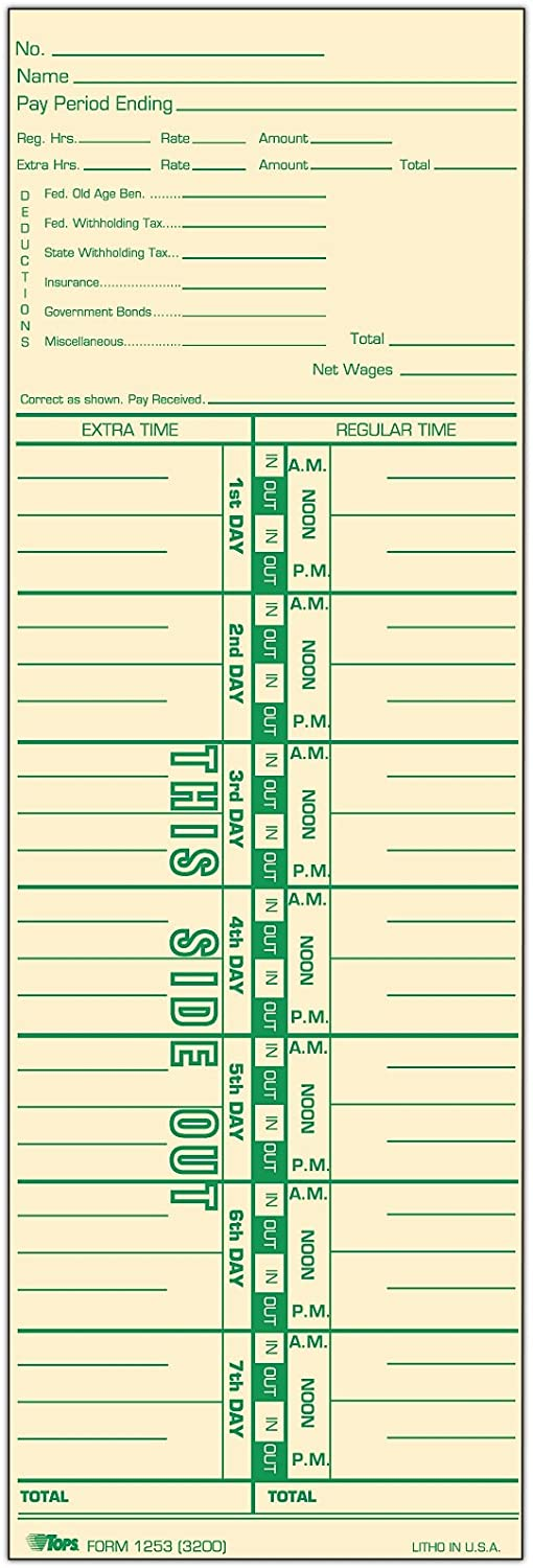 """TOPS Time Cards, Weekly, 1-Sided, Numbered Days, 3-1/2"""" x 10-1/2"""", Manila, Green Print, 500-Count (1253)"""