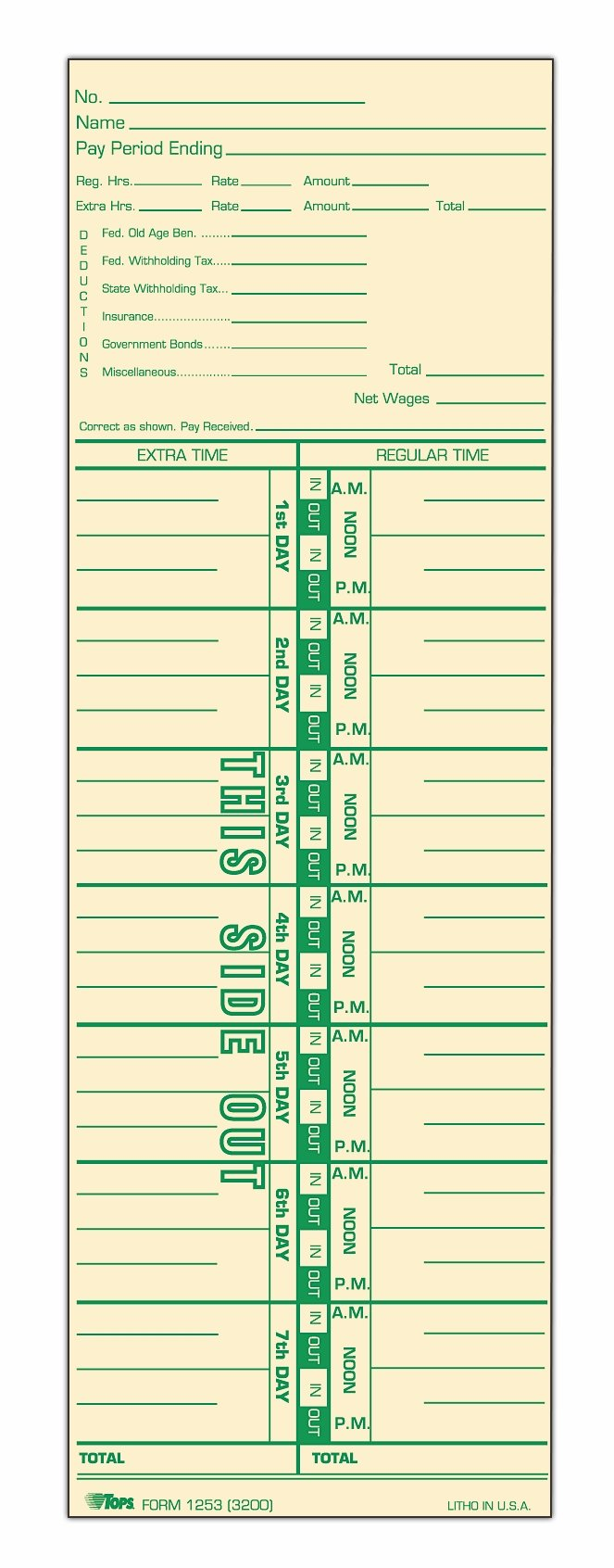 TOPS Time Cards, Weekly, 1-Sided, Numbered Days, 3-1/2'' x 10-1/2'', Manila, Green Print, 500-Count (1253)
