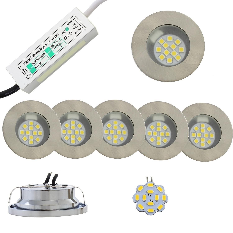2-5x LED 2W Halogen Einbaustrahler mit Netzteil und LED Leuchten warmweiss 230lm KOMPLETTSET (5x Einbauleuchten)