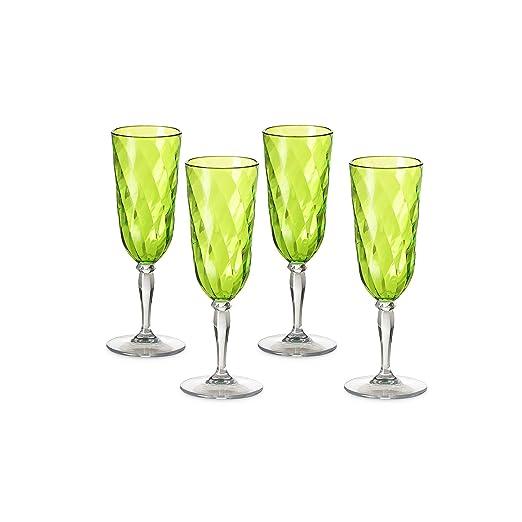 Omada Design 4 copas de champán o flautas de 17.5 cl, Diamond Line ...