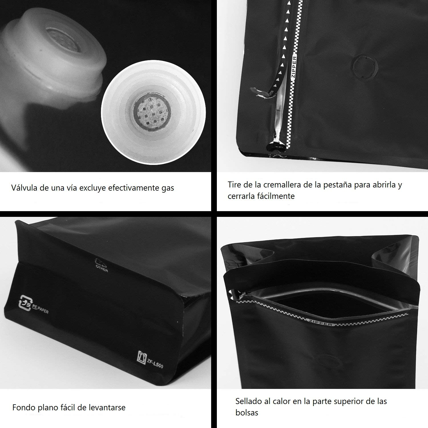 SumDirect Foil Stand up Zipper Pouch Coffee Bags with Valve, 5x10 Inches, 17.6 oz, Pack of 10 (Matte Black)