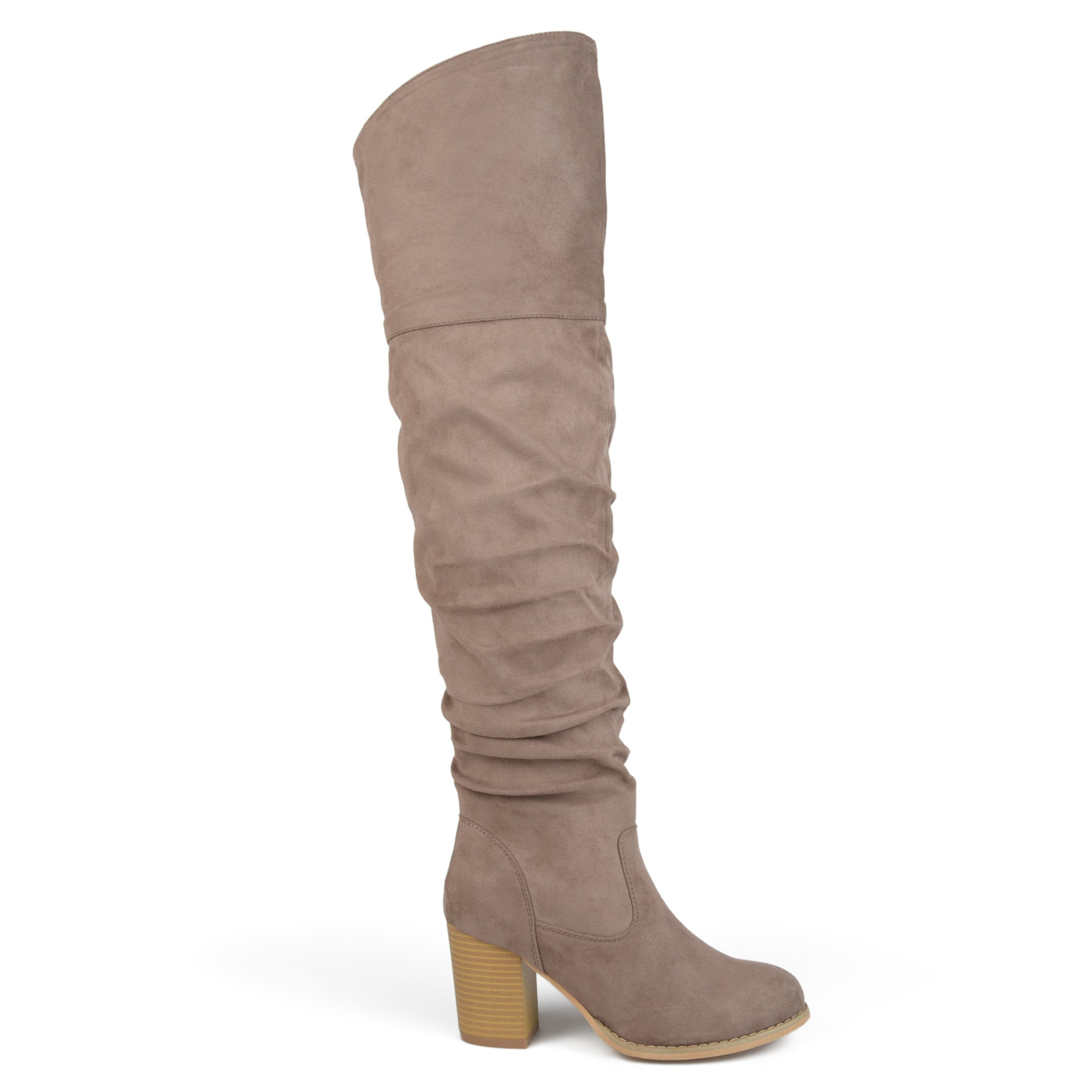 Brinley Co. Womens Regular Wide Calf and Extra Wide Calf Ruched Stacked Heel Faux Suede Over-The-Knee Boots Taupe, 8 Regular US