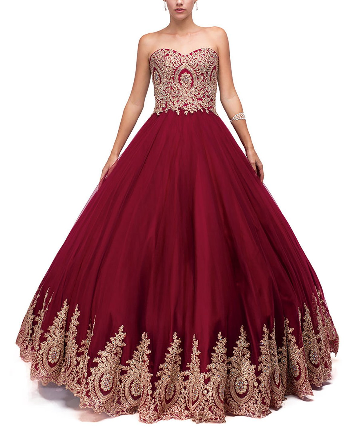 523dc5e1ee1 DarlingU Women s Ball Gown Sweetheart Quincenara Dress Appliques Formal Prom  Evening Gowns Burgundy 14
