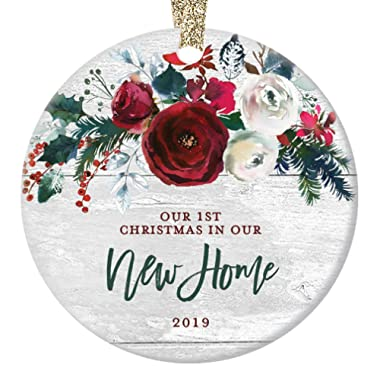 New Home Christmas Ornament 2019 Modern Farmhouse, First Christmas in Our New House Gift for Homeowner 1st Present Floral Ceramic Keepsake Present 3  Flat Circle Porcelain with Gold Ribbon & Free Box