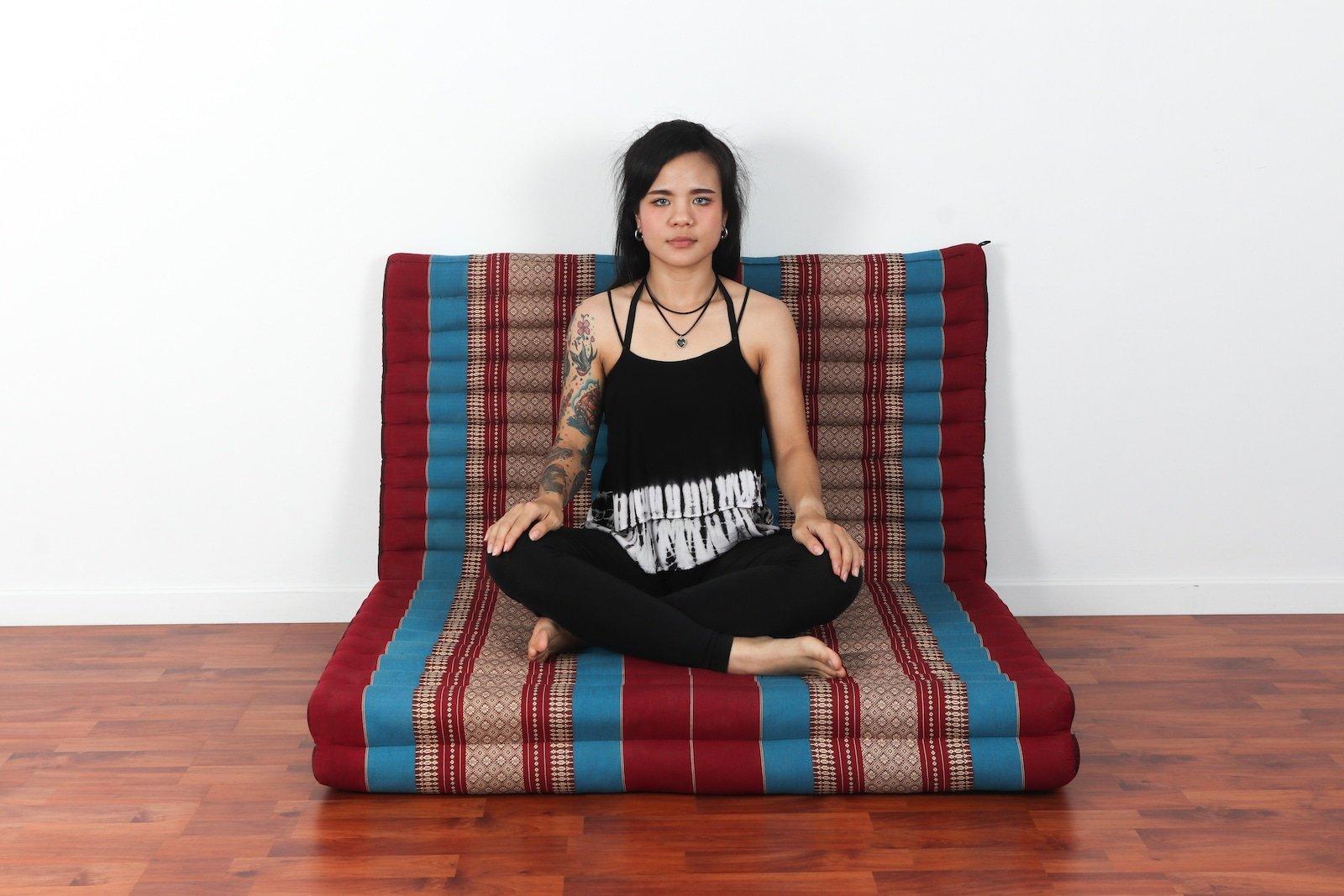 Leewadee Thai Massage Mat XL, 82x46x3 inches, Kapok, Blue red by Leewadee (Image #3)