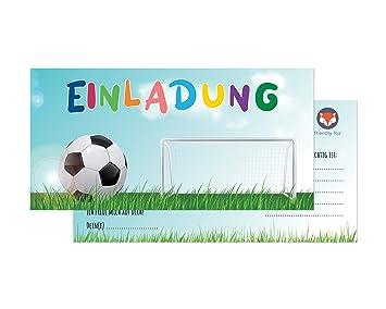Friendly Fox Fussball Einladung 12 Einladungskarten Fussball Zum Kindergeburtstag Junge Madchen Karten Mit Umschlag Geburtstagseinladungen