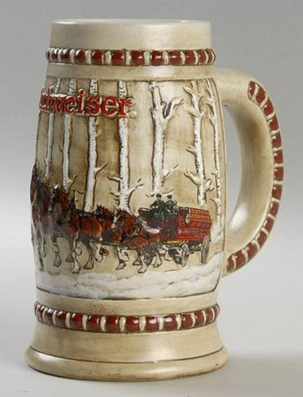 1981 BUDWEISER HOLIDAY BEER STEIN / MUG - Snowy Woodlands CS-50