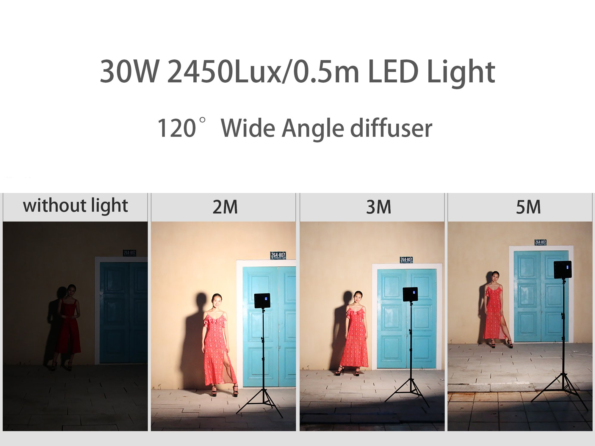 2 Packs VILTROX LED Panel Light with Stand Kit, (30W/2450Lux) Bi-Color Dimmable Studio Photography Video Lighting kit CRI95+ for Wedding News Interview YouTube Live Video by VILTROX (Image #6)