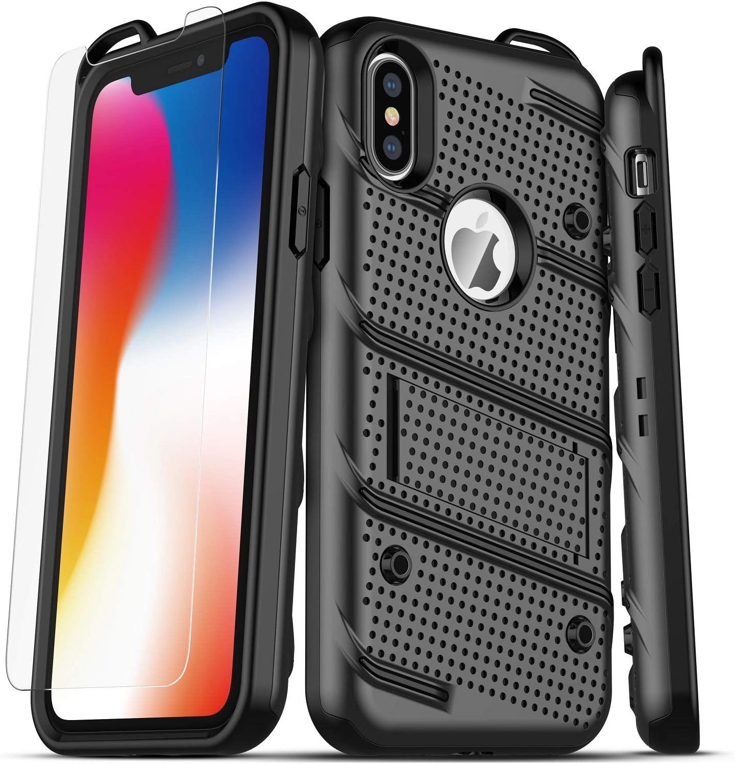 ZHIKE Custodia per iPhone XS Max Nero Custodia Rigida Antiurto per PC Custodia Morbida per Defender in Silicone con Supporto per iPhone XS Max