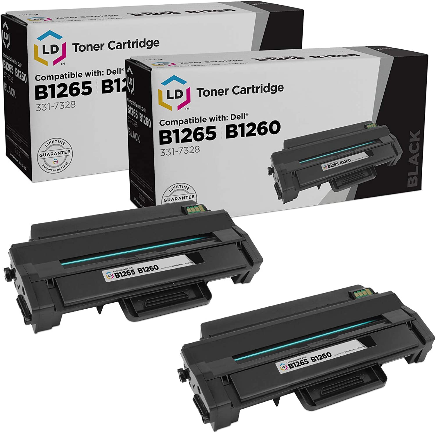 LD Compatible Toner Cartridge Replacement for Dell 331-7328 High Yield (Black, 2-Pack)