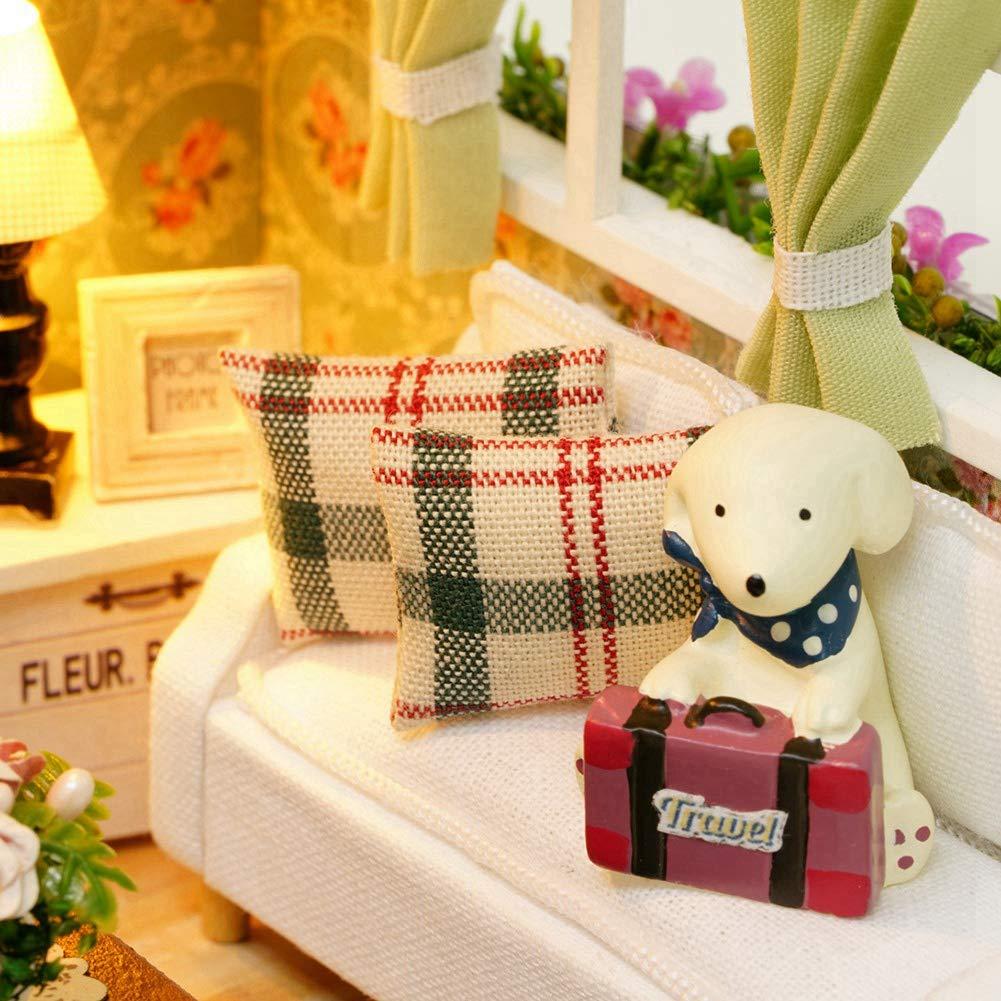 Pasamer Wooden DIY Cottage Kit DIY Wooden Cottage Miniature House Kit Regalos para ni/ños Juguete Decoraci/ón del hogar con Cubierta a Prueba de Polvo 8008