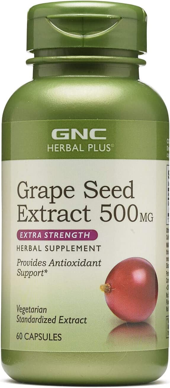 GNC Herbal Plus Grape Seed Extract 500mg – Extra Strength, 60 Capsules, Provides Antioxidant Support