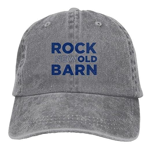 25d585f568c Rock The (New) Old Barn - Orange Men s Black Adjustable Vintage Washed  Denim Baseball Cap Dad Hat Trucker Cap at Amazon Men s Clothing store