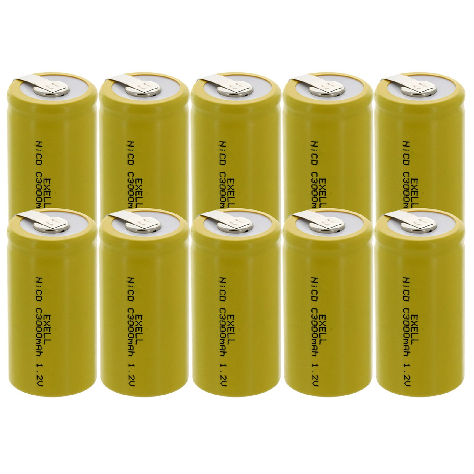 10x Exell C Size 1.2V 3000mAh NiCD Rechargeable Batteries with Tabs for high power static applications (Telecoms, UPS and Smart grid), electric mopeds, meters, radios, RC devices, electric tools by Exell Battery