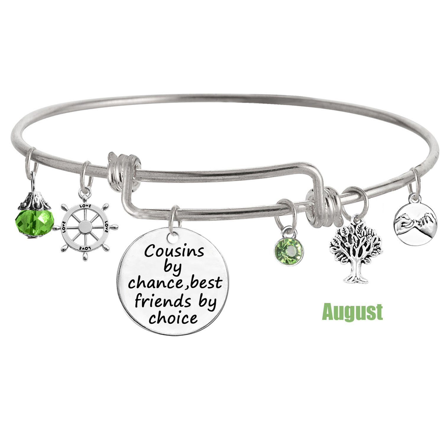 TISDA Cousin Jewelry, ''Cousins by Chance,Best Friends by Choice'' Bangle Bracelet (August)