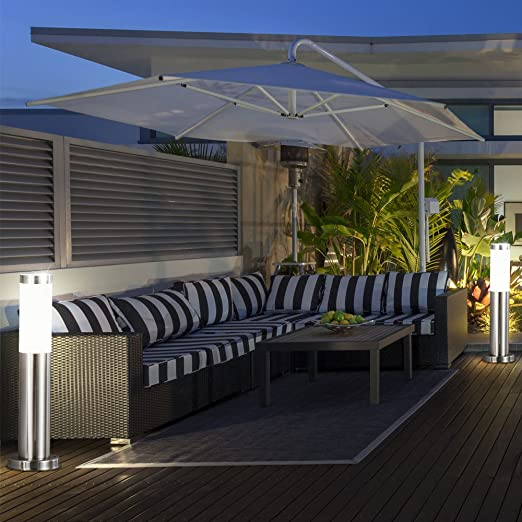 Conjunto de 4 LED de 8.5W de pie lámpara del soporte exterior parque porche lámpara de acero inoxidable EEK A +: Amazon.es: Iluminación