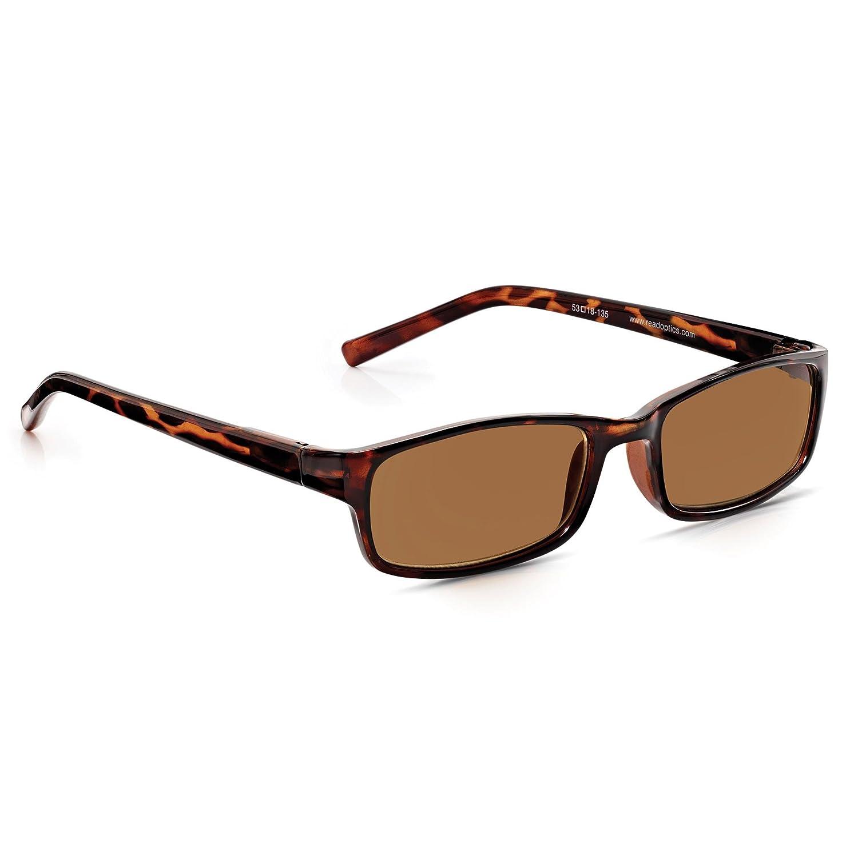 Read Optics Gafas de Sol Graduadas para Lectura +2.00 Hombre/Mujer - Marrones Tortoise de Policarbonato - Lentes Tintadas Rayguard™ 100% Protección ...
