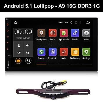 7 pulgadas Doble Din universal de coche GPS estéreo para Tablet Android 5.1 OS libre matrícula