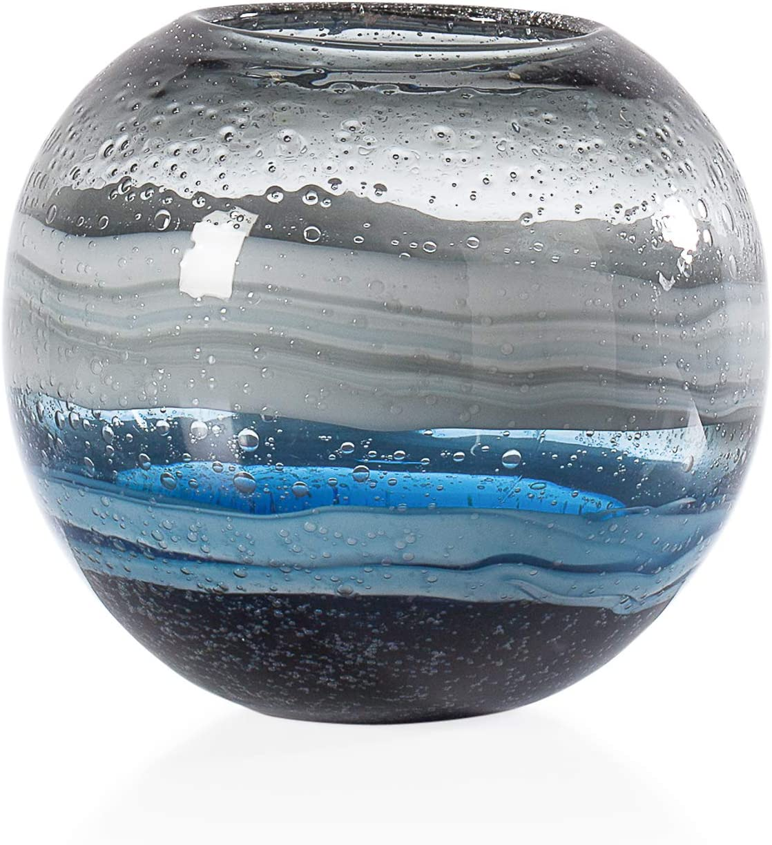 Torre & Tagus Andrea Handmade Swirl Glass Sphere Vase for Home Decor Living Room Centerpiece & Home Office, Blue