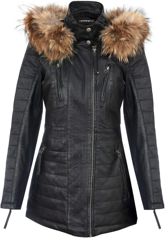 Infinity Leather Chaqueta Parka de Cuero Negra para Mujer Acolchada Desmontable con Capucha Gabardina