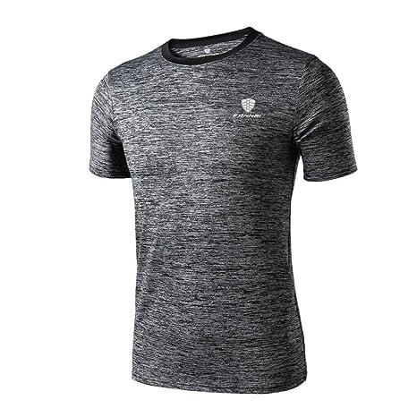 Camiseta de manga corta Hombre Polainas de entrenamiento para hombre Fitness Sports Gym Running Yoga Camisa atlética Top Blusa LMMVP (Gris oscuro, L)