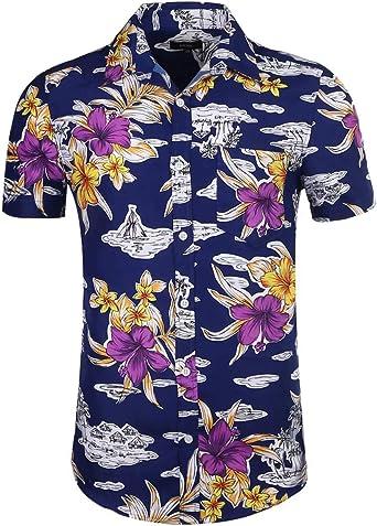 NUTEXROL Camisa Superior de Manga Corta con Estampado de Lunares para Hombre Camisa Casual de Algodón: Amazon.es: Ropa y accesorios