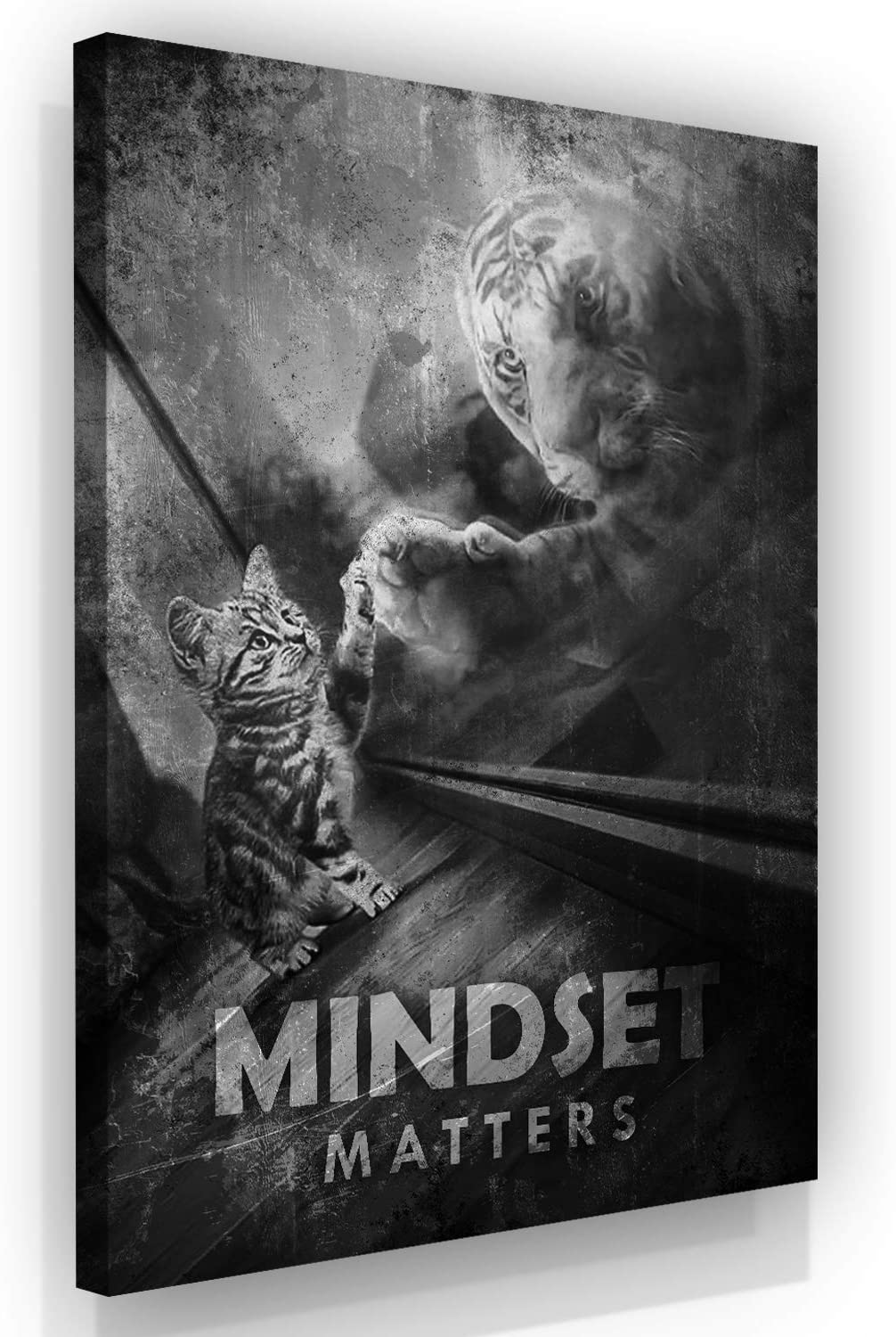 Motivational Wall Art Mindset Is Everything Canvas Print, Office Decor, Inspiring Framed Prints, Inspirational Entrepreneur Quotes for Wall Art Decoration, Tiger Sign (18