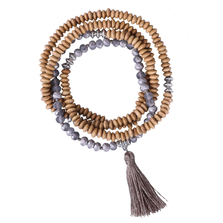 KELITCH Wooden Beads Beaded Long Necklace Tassel Pendant Women Strand Bracelet For Summer Necklace (Grey)