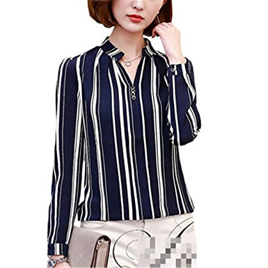 xiaohuihuihui Long Sleeve Blouse Shirt Women Flower/Striped/Plaid/Arrow Printed Chiffon Tops