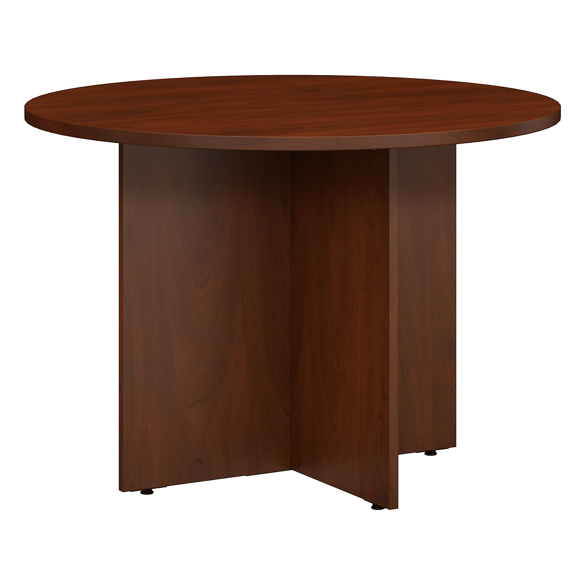 Bush Business Furniture 42W Round Conference Table with Wood Base in Hansen Cherry