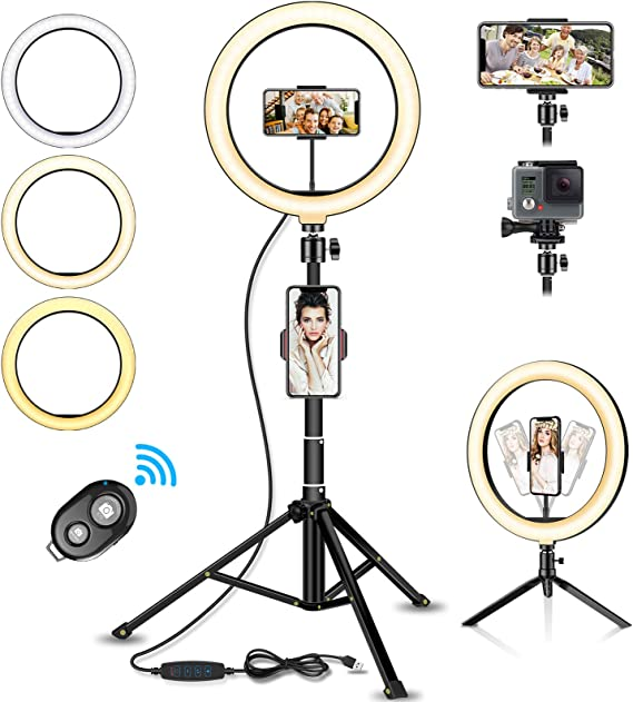 SUYIDAN Ring Light LED Floor Ring Light with Tripod USB Charging 3 Kinds of Light Mode Fill Light Network Live Selfie Lamp Ringlight Color : B, Size : 14.5cm