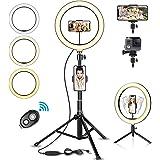 SYOSIN Ringlampa, 10 tums LED-ringlampa med stativställ, 3 färglägen och 10 ljusstyrka för strömning, makeup…