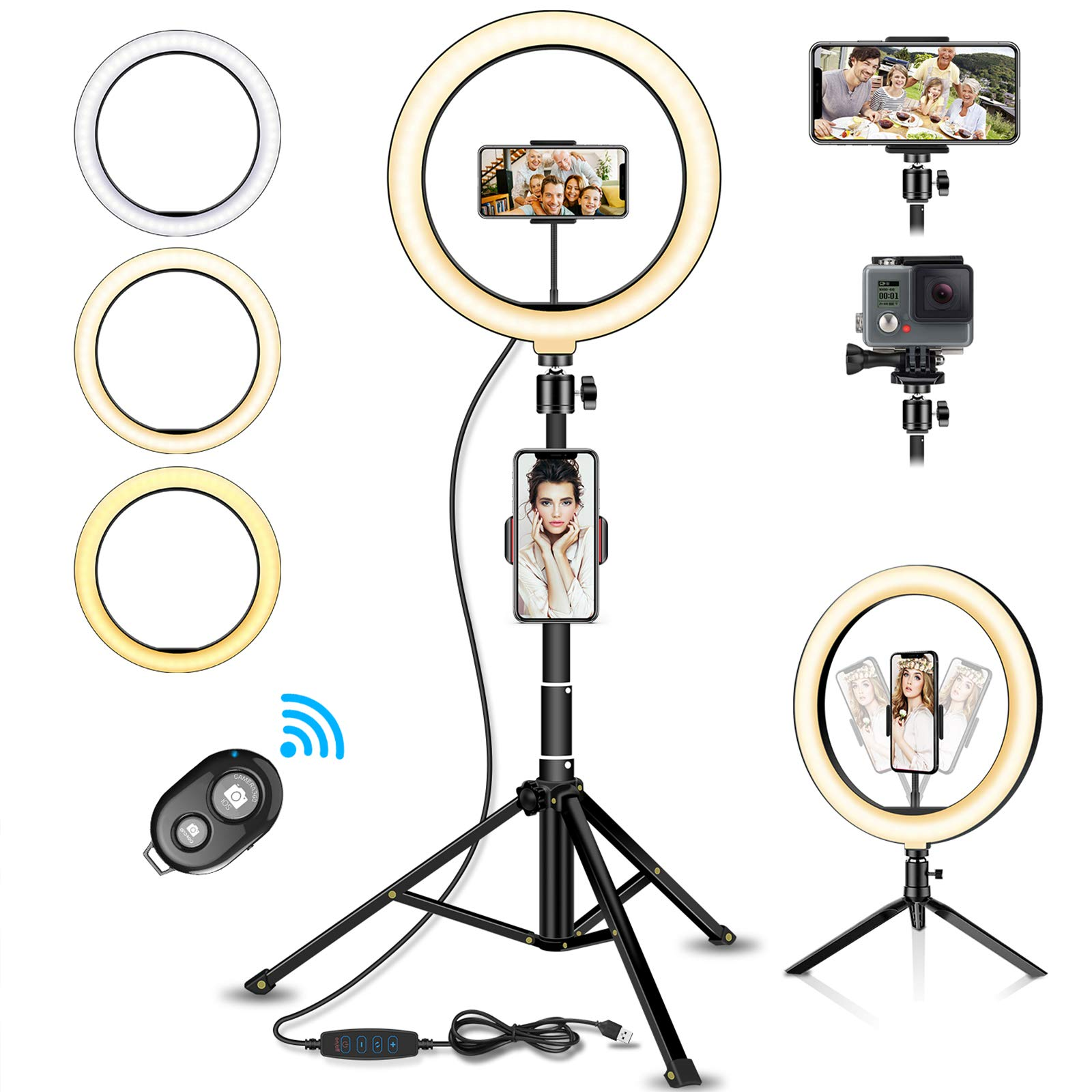 "SYOSIN Ring Light, 10.2"" LED Ring Light with Tripod Stand, 3 Color Modes and 10 Brightness for Streaming, Makeup, Selfie Photography"