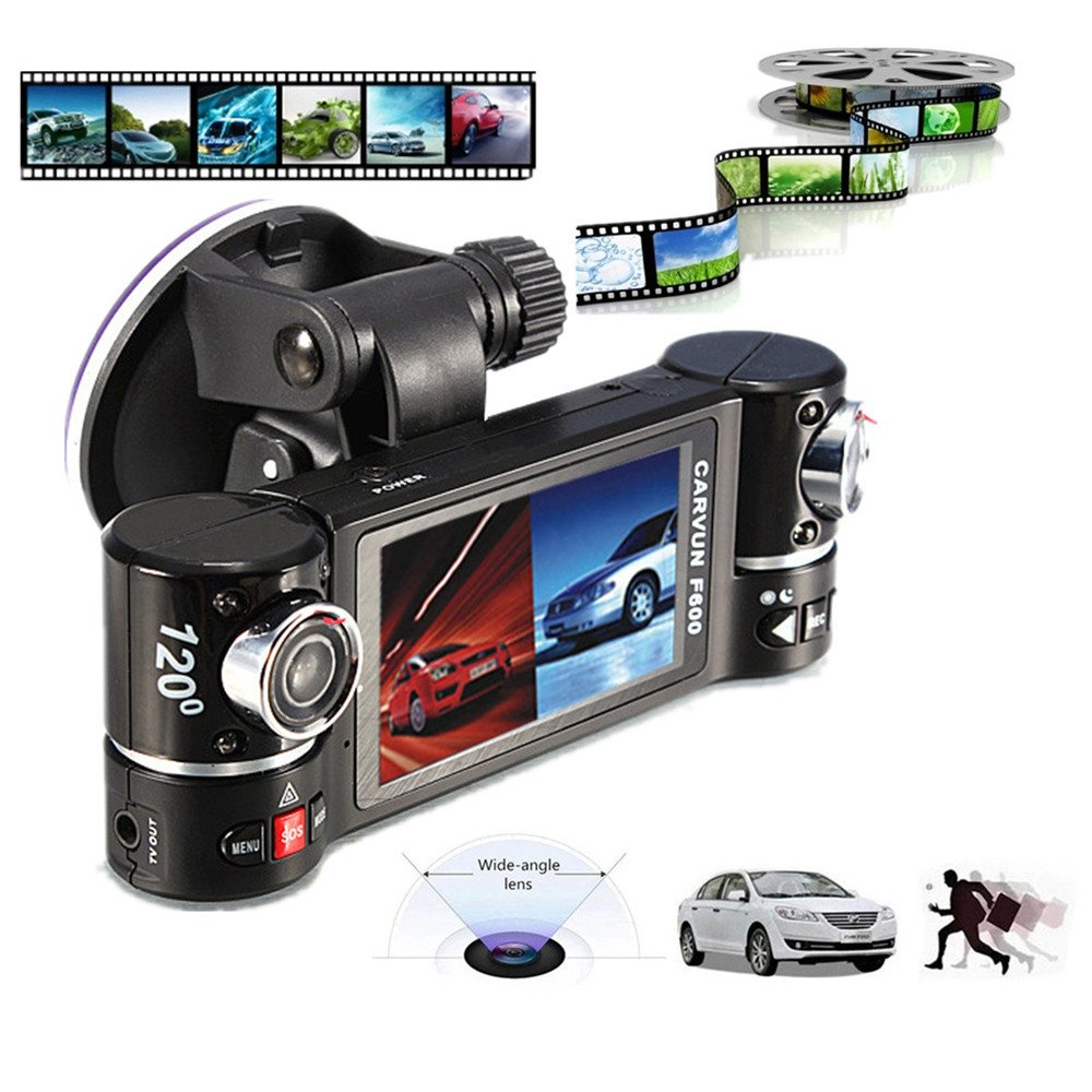 KUNAW Dual Lens Car Camera Vehicle DVR Dash Cam Two Lens Video Recorder F600