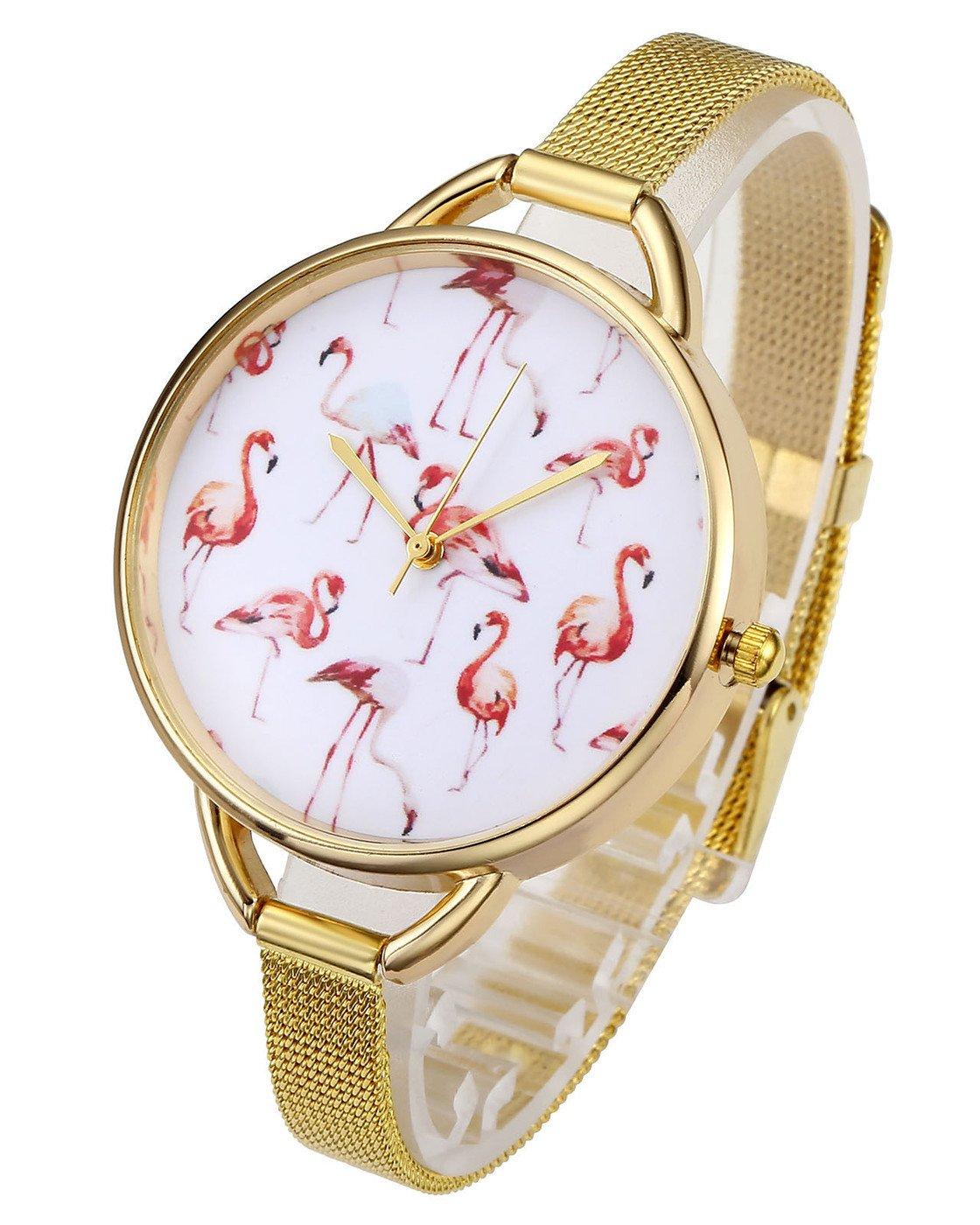 Top Plaza Womens Fashion Gold Tone Analog Quartz Bracelet Wrist Watch, Cute Pink Flamingos Pattern, Mesh Metal Thin Band