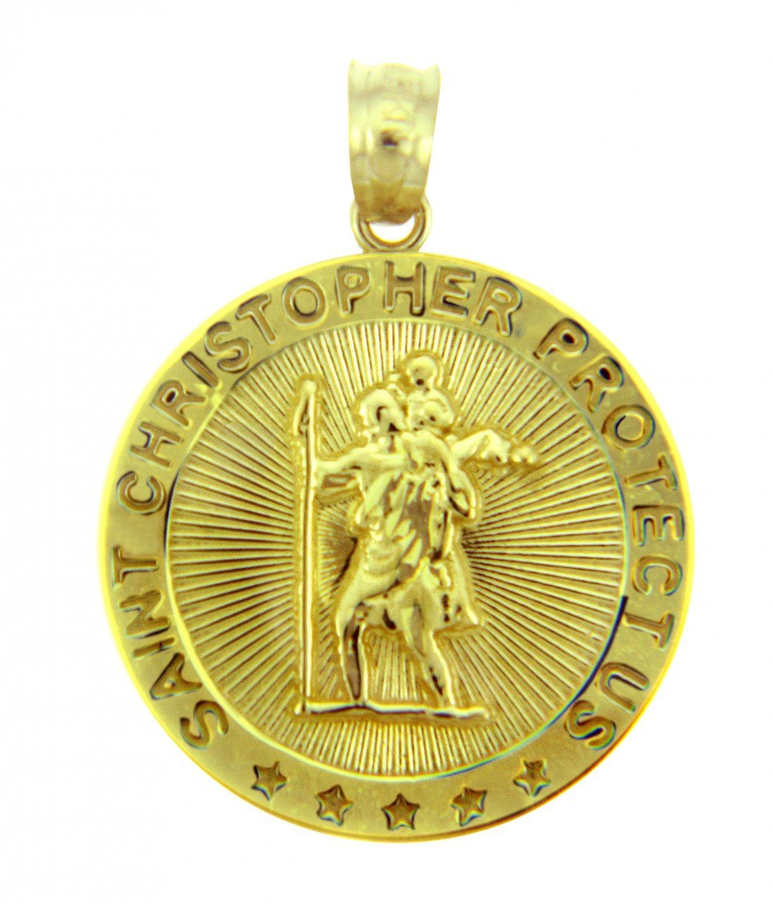 10k Yellow Gold St Christopher Medal Catholic Charm Traveler Protection Pendant by Saint Collection