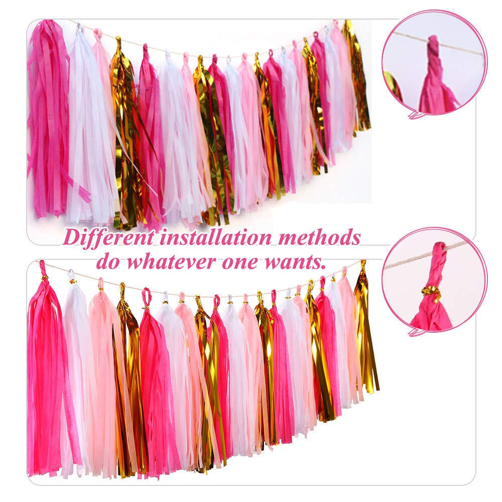 Bromose 20 PCS DIY Tissue Paper Tassel Party Garland, Fringe Garland Nursery Banner for Wedding, Baby Shower, First Birthday, Event & Party Decor (2 Pack)