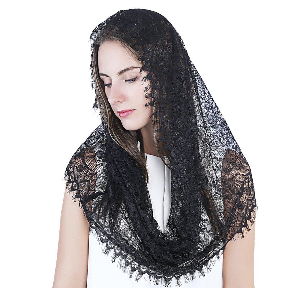 Black Infinity Scarf Mantilla - Catholic Veil Church Veil Head Covering Latin Mass