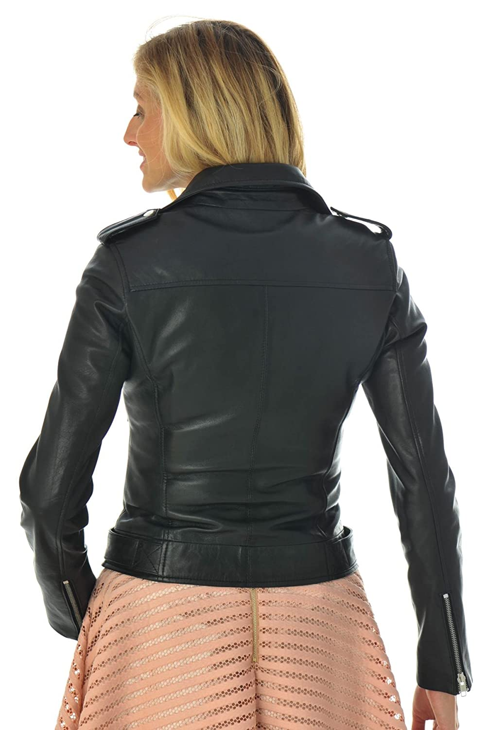 Leather Lifestyle Womens Real Lambskin Leather Biker Style Fitted Black Motorcycle Casual Jacket #WJ42