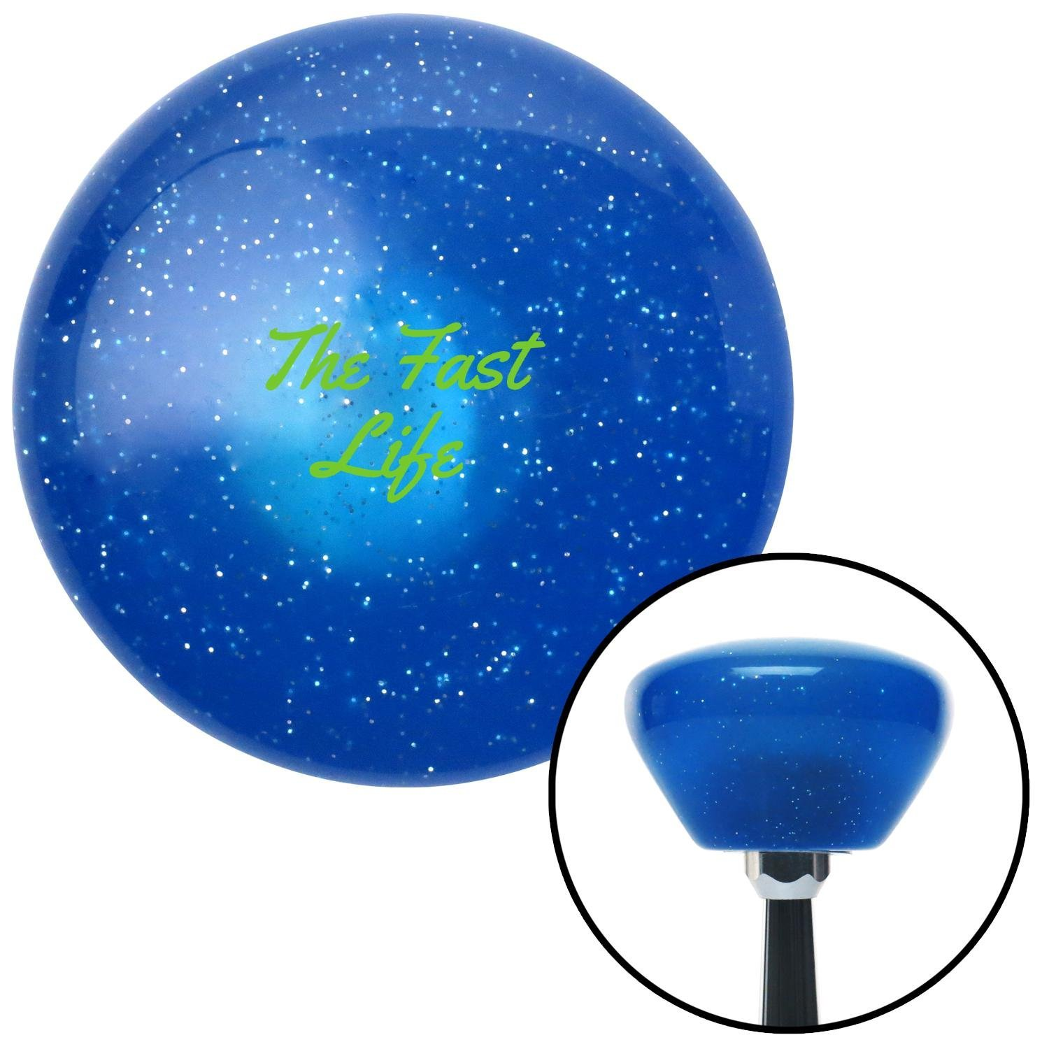 Green The Fast Life Blue Retro Metal Flake with M16 x 1.5 Insert American Shifter 289483 Shift Knob