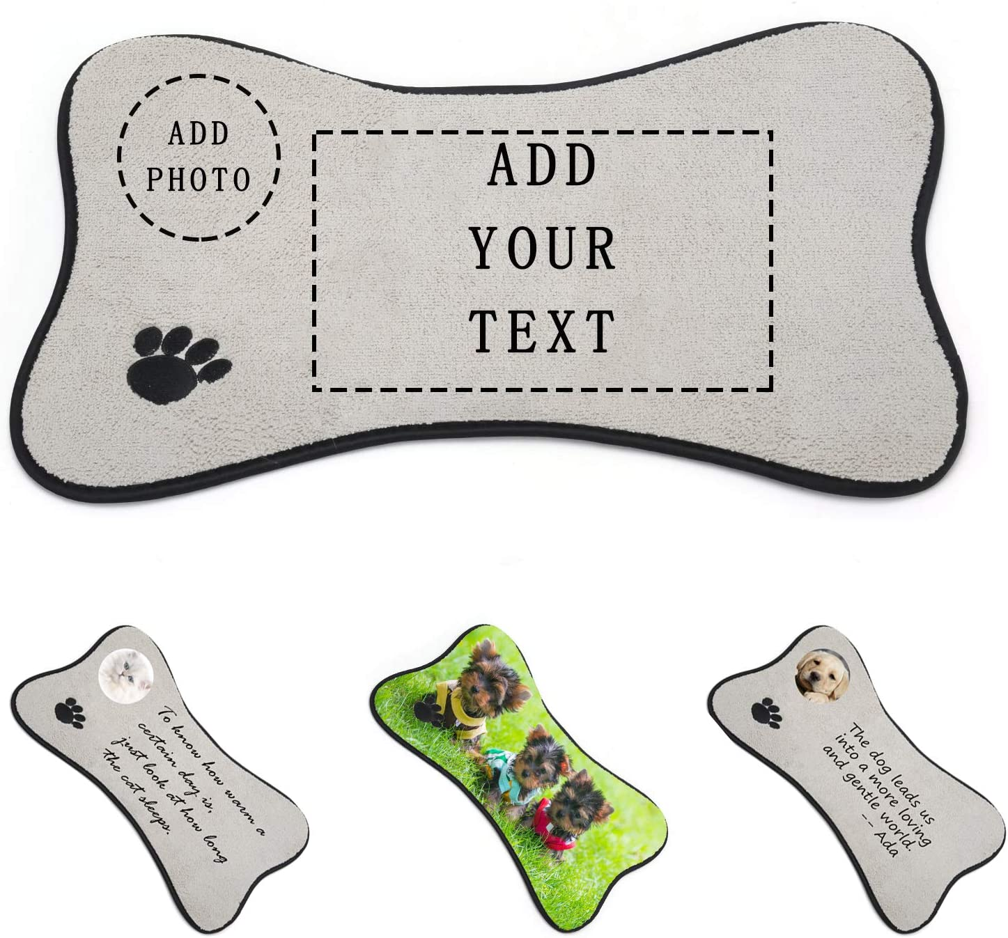 INISCO Custom Dog/Cat Feeding Mats, Personalized Photo/Text Pet Food and Water Mat, Pet Feeding Mat for Floor with Non Slip Backing